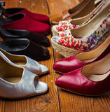 Various female shoes Royalty Free Stock Images