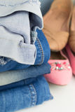 Various female summer shoes with jeans Stock Image