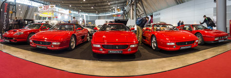 Various Ferrari cars standing in a row. Royalty Free Stock Photos