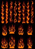 Various fiery flames in tribal style Royalty Free Stock Photo