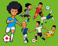 Various figures of children of football players. Painted boys football players in different shapes and different poses. Set. Vector graphics Royalty Free Stock Image
