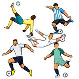 Various figures of soccer players. Vector graphics. Isolated. Stylized illustrations Royalty Free Stock Photos