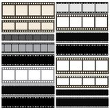 Various film strip background collection. With film roll lines Stock Photos