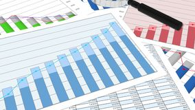 Various financial charts on table, business planning, data analysis, research. Stock footage royalty free illustration