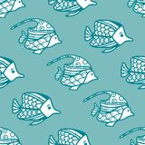 Vector seamless fish pattern. Royalty Free Stock Photography