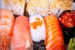 Various fish sushi with salmon ikura Stock Images