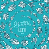 Vector ocean underwater life background. Various fish swim in a circle on blue background. There is copy space for your text Royalty Free Stock Photo