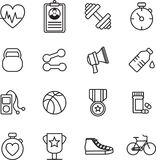 Various fitness icons. On white background Royalty Free Illustration