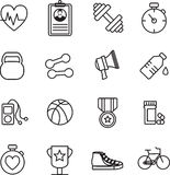 Various fitness icons. On white background Stock Illustration