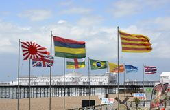 Various flags on Brighton seafront. England Stock Images