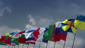 Various flags of different states. For summit, meeting, negotiations. Stock footage stock footage