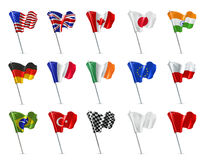 Various flags, vector icon set Royalty Free Stock Images