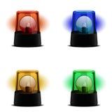 Various Flashing Lights. Detailed illustration of a flashing lights in various colors, symbol for alert, warning and emergency Stock Photos