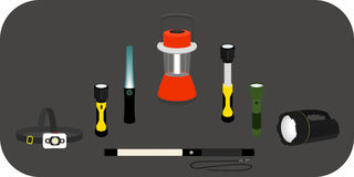 Various flashlight - headlamp, handlamp, tablelamp. Vector illustration various flashlight - headlamp, handlamp, tablelamp Stock Photos