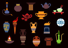 Various flat containers and kitchenware. Containers and kitchenware icons in flat style with ancient torch, stone fire bowls, amphoras, copper and ceramic Stock Photo