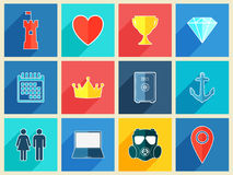 Various flat design icons with long shadow effect. Vector illustration Royalty Free Stock Photo
