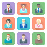 Various flat design people in glasses icons set Royalty Free Stock Images