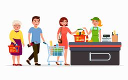 Free Various Flat People At The Supermarket Buying Products At The Cashbox With Cute Cashier. Men And Women At Mall. Family Royalty Free Stock Image - 112072386