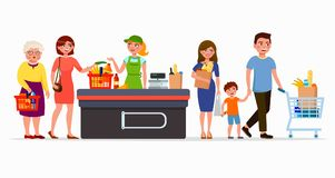 Various flat people at the supermarket buying products at the cashbox with cute cashier. Men and women at mall. Family royalty free illustration