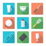 Various flat style dinnerware icons set Royalty Free Stock Photos