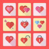 Various flat style heart icons set. Vector various colored flat design valentines day heart icons set Royalty Free Stock Photography