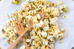 Various flavored popcorn Stock Photo