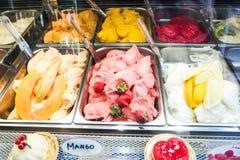 Various flavors of gelato icecream. In italy Royalty Free Stock Photos