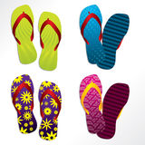 Various flip flop designs. Various colorful flip flop designs for the summer Stock Photography