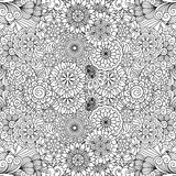 Various floral pinwheel shapes in seamless pattern vector illustration