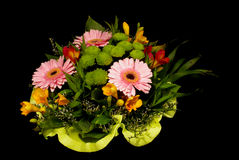Various flower bouquet isolated on the black background stock image