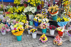Various flowers in asia street market, India Royalty Free Stock Photos