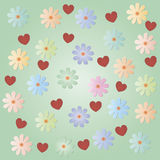 Various flowers with hearts on a light green background. Background for a congratulatory message Stock Photography