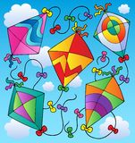 Various flying kites on blue sky. Vector illustration Royalty Free Stock Photos