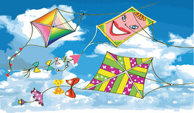 Various flying kites on blue sky. Illustration Stock Photos