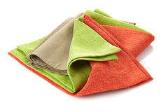 Various folded cotton napkins Stock Photos