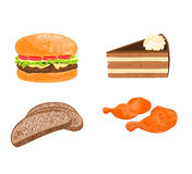 Various food dishes (hamburger,cake, bread, chicken meat)  vector. Illustration Stock Images