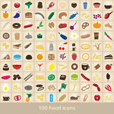 100 various food and drink color icons set Stock Photos