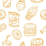 Various food and drink of doodles Stock Images