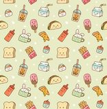 Various food and drink seamless background in kawaii style vector royalty free illustration