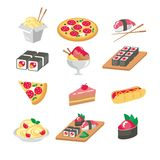 Various food icons set - fruit, vegetables, meat,. Various food icons set. Food icons flat Stock Image