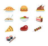 Various food icons set - fruit, vegetables, meat,. Various food icons set. Food icons flat Royalty Free Stock Image