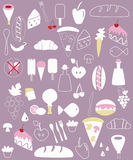 Various food illustrations Royalty Free Stock Image