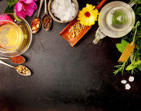 Various Food Ingredients on Table with Copy Space Stock Images