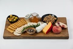 Various food items on wooden board Stock Photography