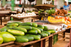 Various food on sale at farmers market in Cuba Royalty Free Stock Images
