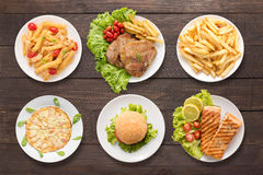 Various food set on the wooden background Royalty Free Stock Images
