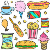 Various food style of doodles Royalty Free Stock Photos