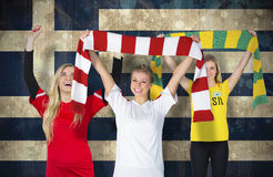 Various football fans Stock Photo