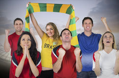 Various football fans Stock Photography