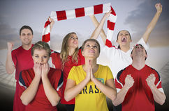 Various football fans Stock Image